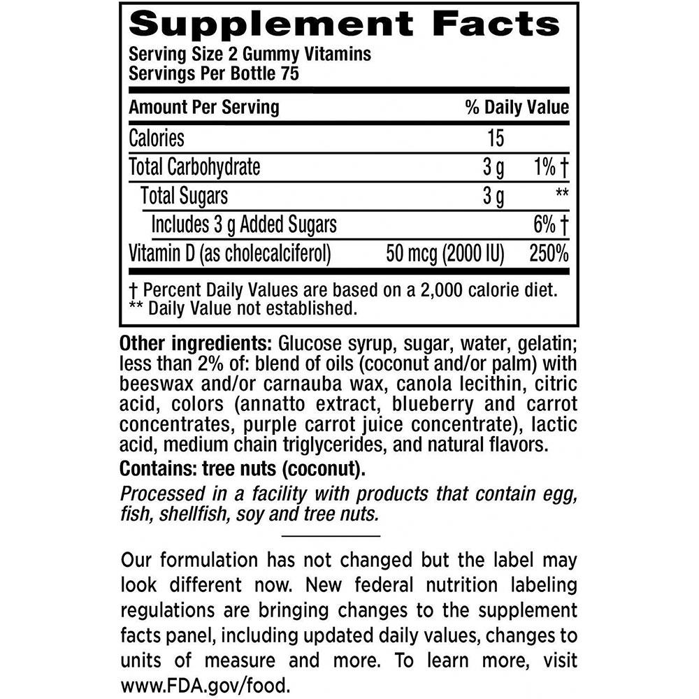 Kẹo dẻo bổ sung Vitamin D Vitafusion Vitamin D3 50mcg (2000IU) Gummy 150 viên