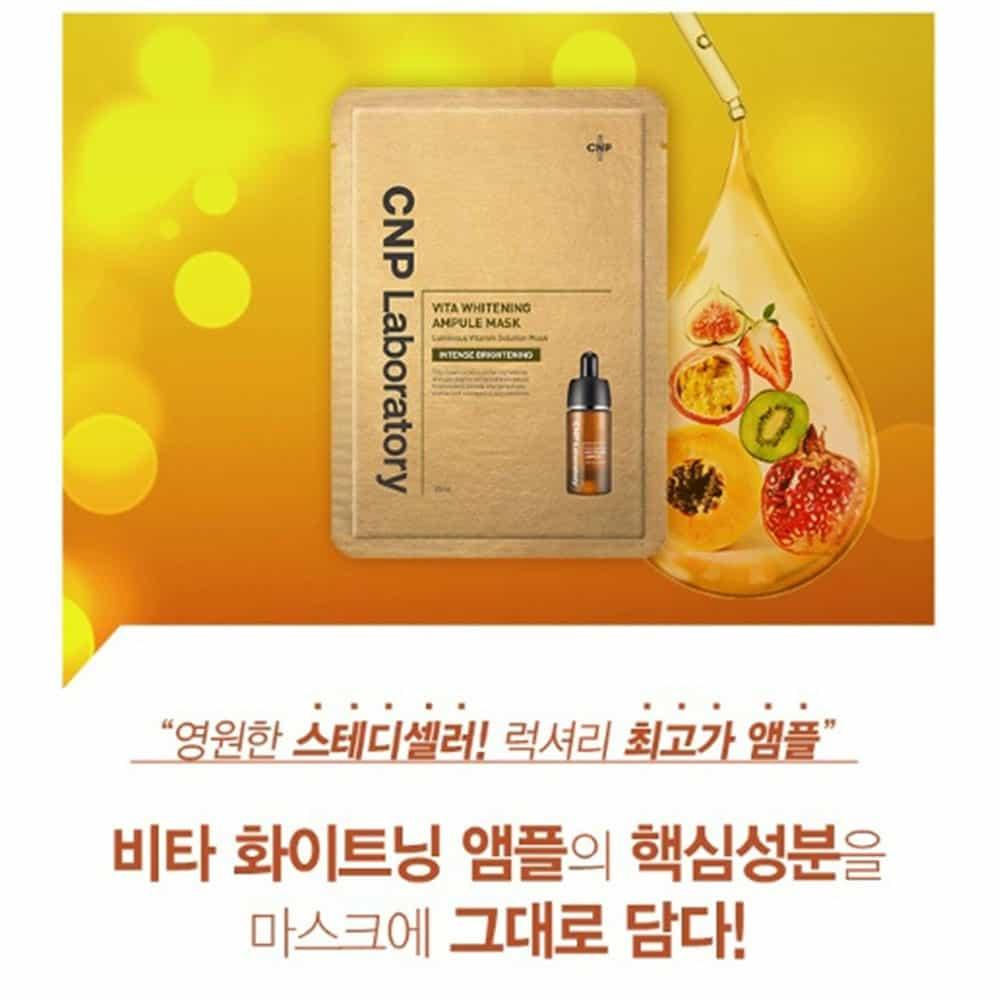 Mặt nạ Vitamin dưỡng trắng CNP Laboratory Vita Whitening Ampule Mask 25ml x20 miếng
