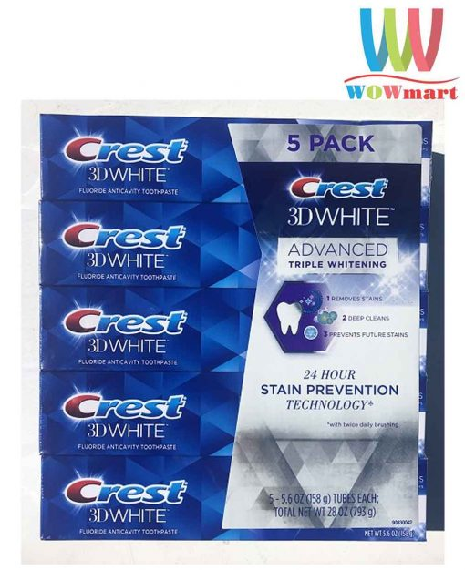 Kem danh rang Crest 3D White Advanced Triple Whitening 158g