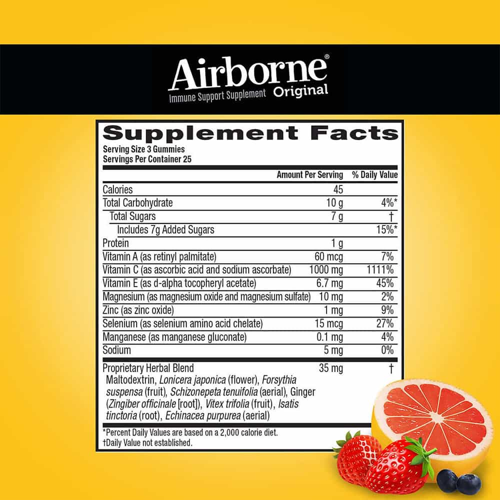 Kẹo dẻo bổ sung vitamin tăng đề kháng Airborne Immune Support Supplement 75 viên