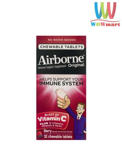 keo ngam bo sung vitamin va khoang chat tu airborne immune support supplement 32 vien dau k