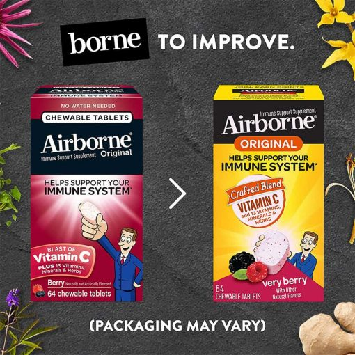 keo ngam bo sung vitamin va khoang chat tu airborne immune support supplement 32 vien dau ky