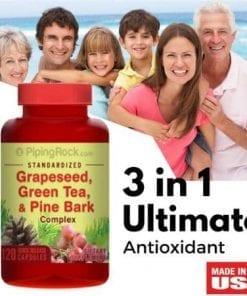 vien uong chong oxy hoa piping rock standardized grapeseed green tea pine bark complex 120 vien ka