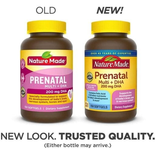 vitamin cho ba bau nature made prenatal multi dha 200mg 150 vien mau 2020 ke