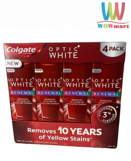 kem danh rang colgate optic white renewal 116g x4 tuyp k