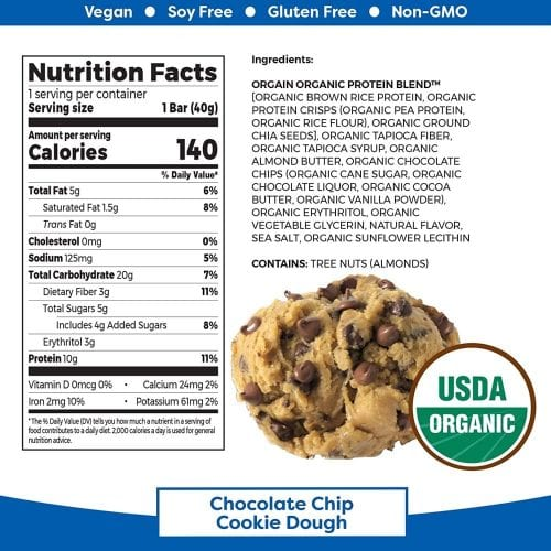 Bánh Orgain Plant Based Protein Bar Chocolate Chip Cookie Dough 40g Mỹ 05/2021 (Hộp)