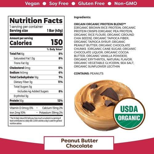 Bánh Orgain Plant Based Protein Bar Peanut Butter Chocolate Chunk 40g Mỹ 04/2021 (Hộp)