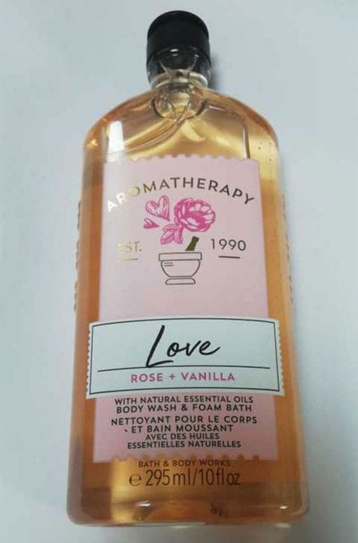 sua tam bath body works aromatherapy love rose vanilla 295ml ka