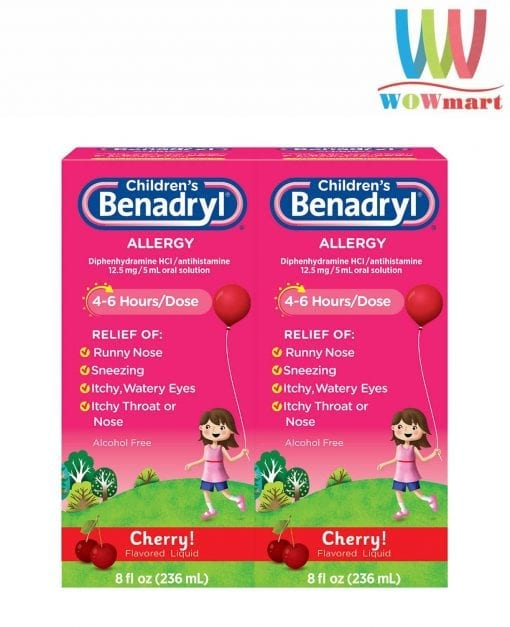 siro chong di ung cho be childrens benadryl allergy liquid cherry 236ml x2 k