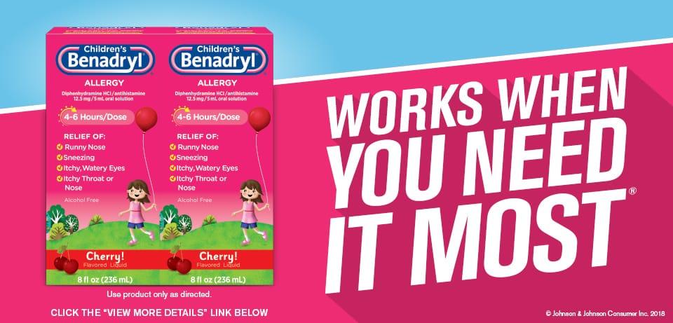siro chong di ung cho be childrens benadryl allergy liquid cherry 236ml x2 kh