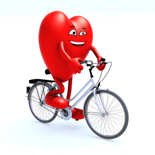 heart with arms and legs riding a bicycle